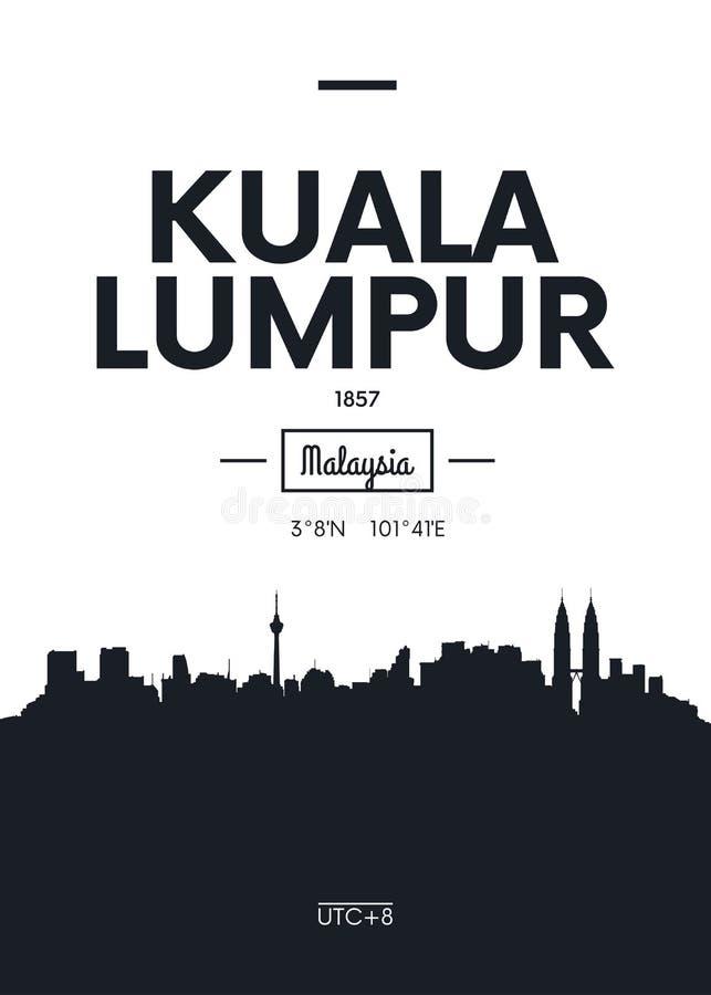 Affischstadshorisont Kuala Lumpur, illustration för lägenhetstilvektor stock illustrationer