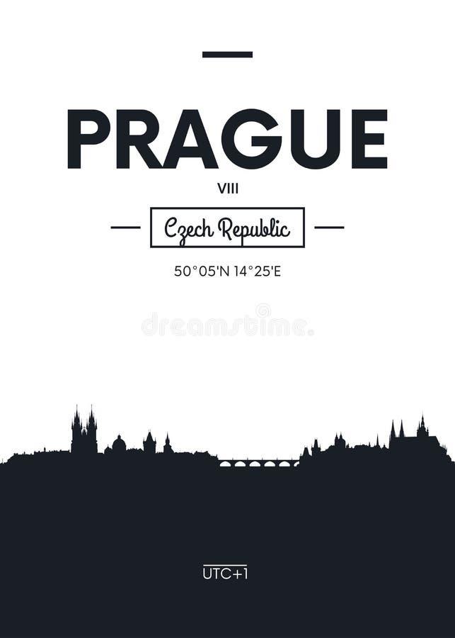 Affischstadshorisont Prague, illustration för lägenhetstilvektor stock illustrationer