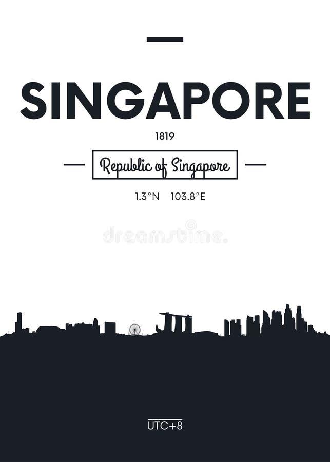 Affischstadshorisont Singapore, illustration för lägenhetstilvektor royaltyfri illustrationer