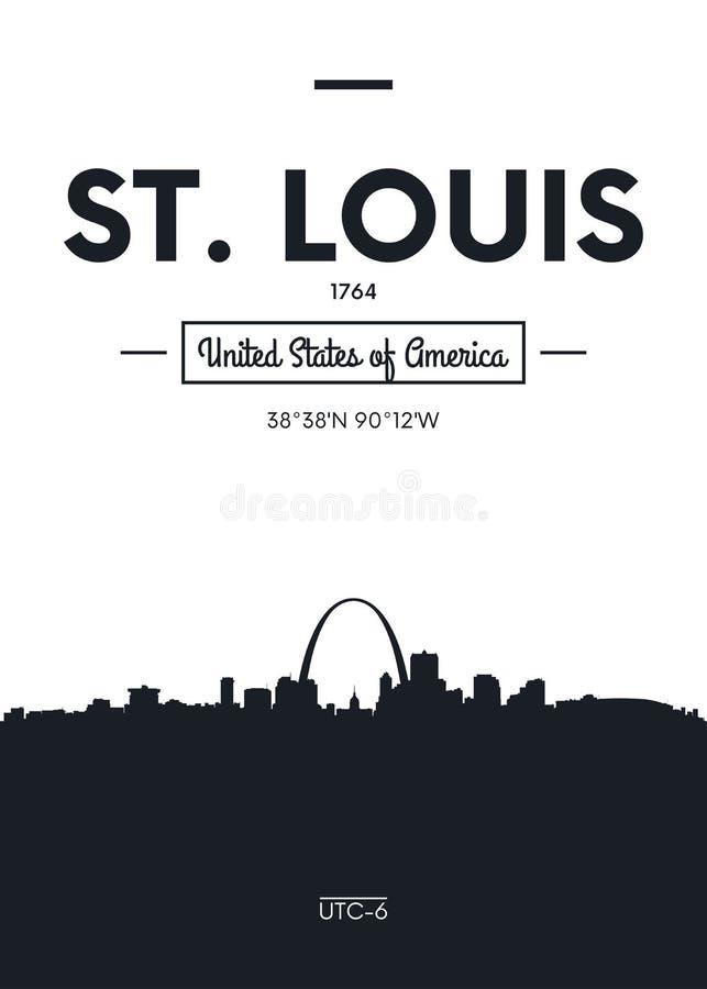 Affischstadshorisont St Louis, illustration för lägenhetstilvektor royaltyfri illustrationer