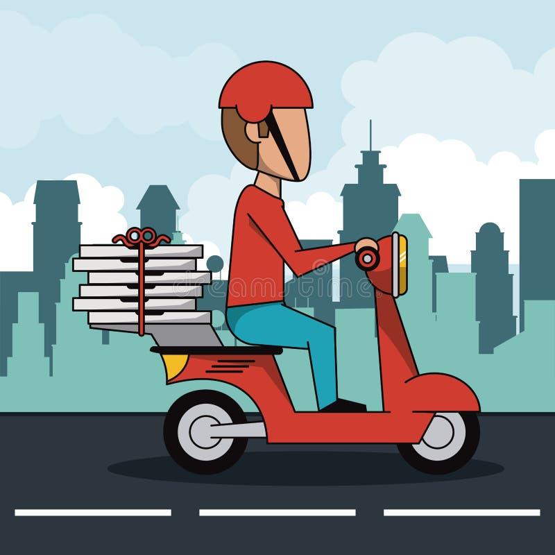 Affischstadslandskap med den snabba pizzaleveransmannen i röd sparkcykel stock illustrationer