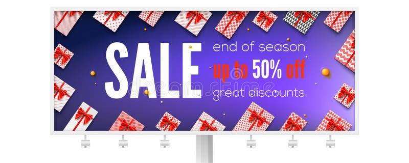 Affischtavla med annonser om ferieförsäljning Få upp till femtio procent rabatt Sikt av överkanten på gåvaaskar som slås in, i fä stock illustrationer