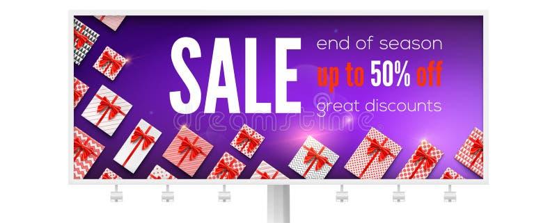 Affischtavla med annonser om ferieförsäljning med många gåvor Få upp till femtio procent rabatt Sikt av överkanten på gåvaaskar stock illustrationer