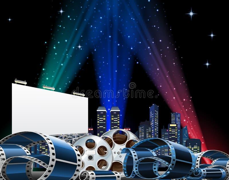 Affischtavla- och filmpremiärshow royaltyfri illustrationer