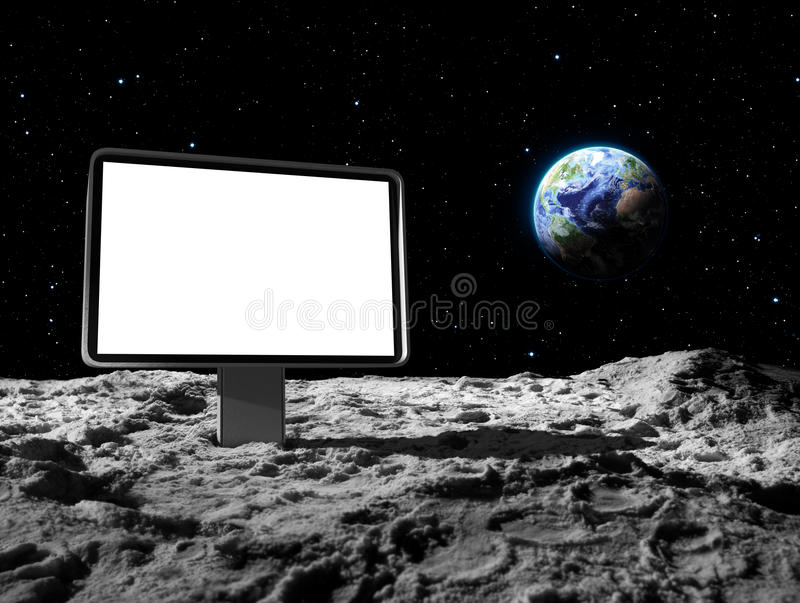 Affischtavla på månen royaltyfri illustrationer