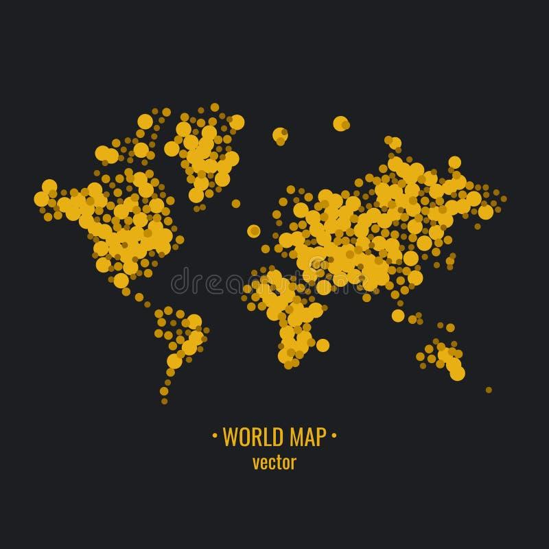 Affischvärldskartan av guld blänker att skimra på en mörk bakgrund också vektor för coreldrawillustration vektor illustrationer