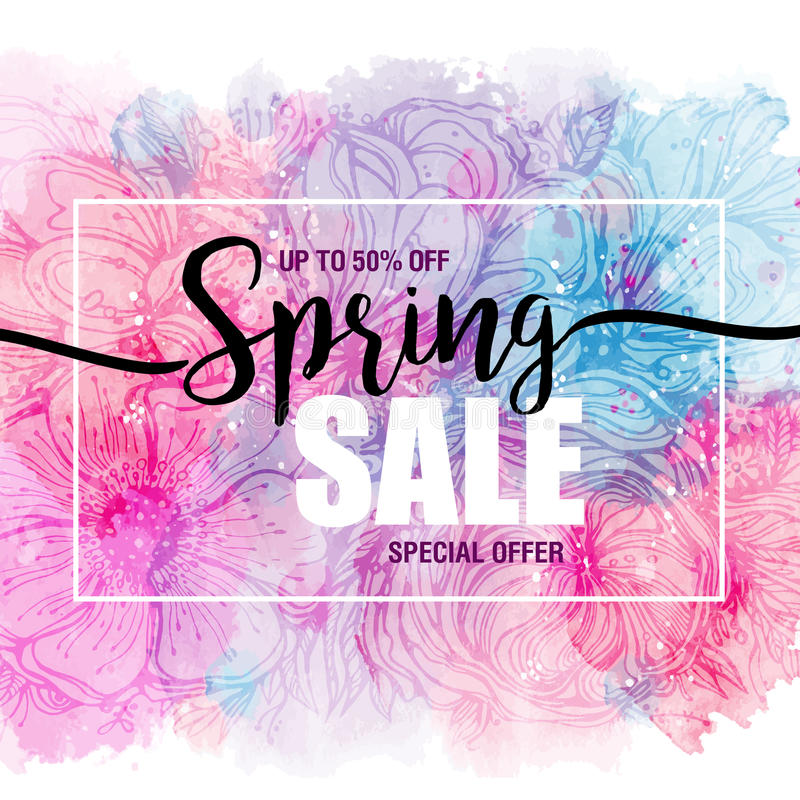Affischvårförsäljningar på en blom- vattenfärgbakgrund Kort etikett, reklamblad, banerdesignbeståndsdel också vektor för coreldra stock illustrationer