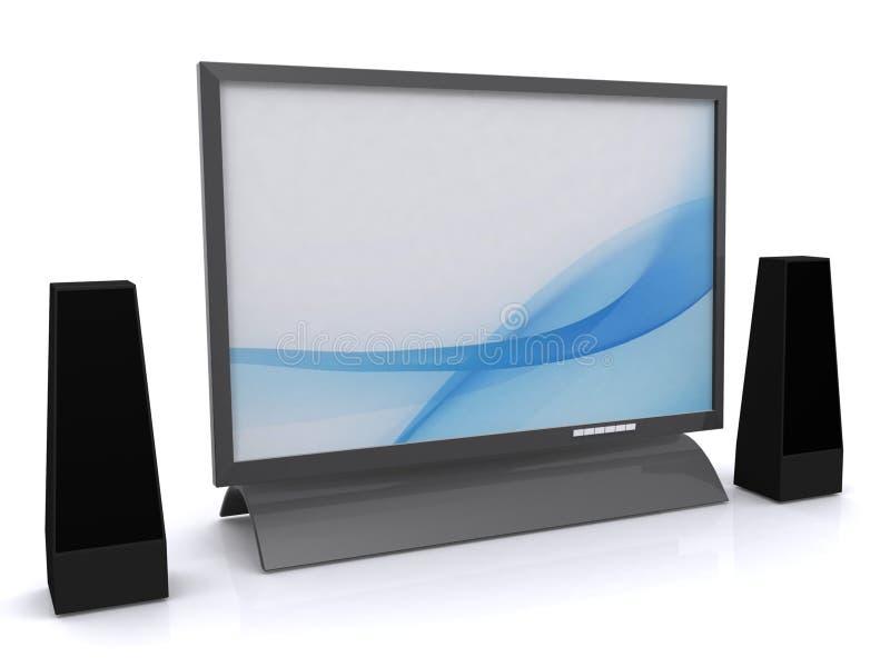 Affissione a cristalli liquidi TV ed altoparlanti illustrazione vettoriale