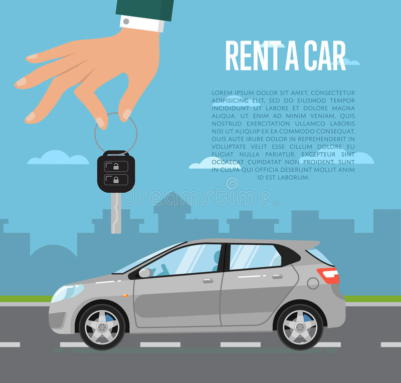 Affitti un concetto dell'automobile con la mano che tiene la chiave automatica royalty illustrazione gratis