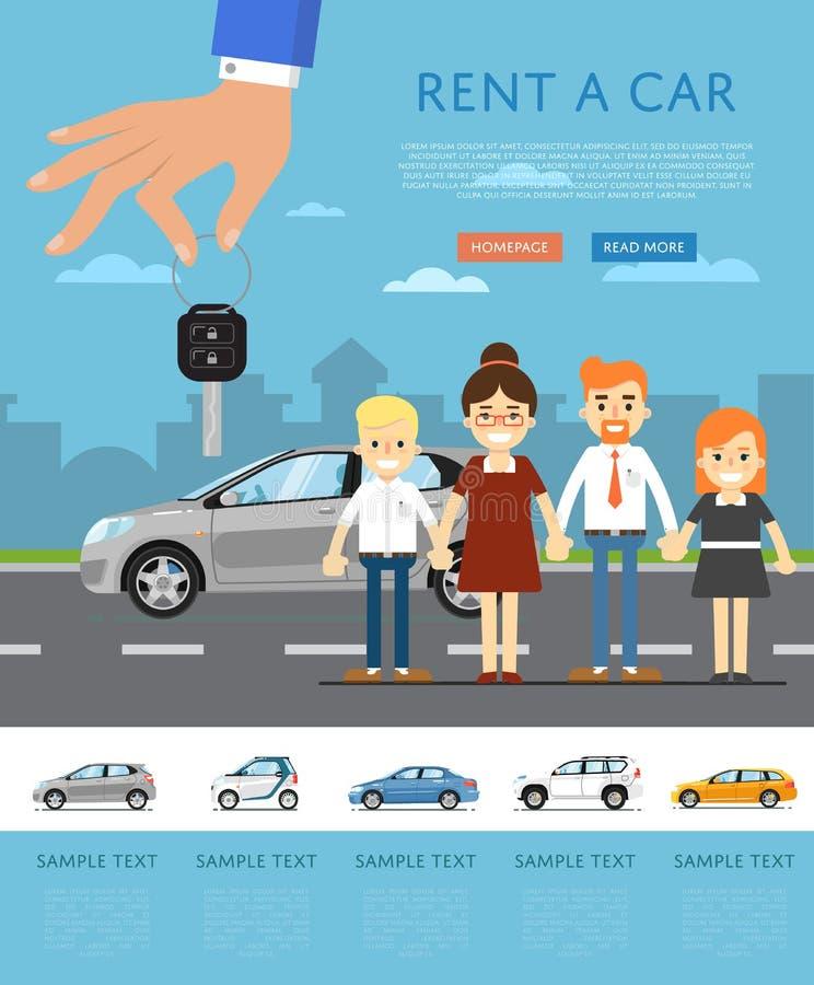 Affitti un modello dell'automobile con la mano che tiene la chiave automatica illustrazione di stock