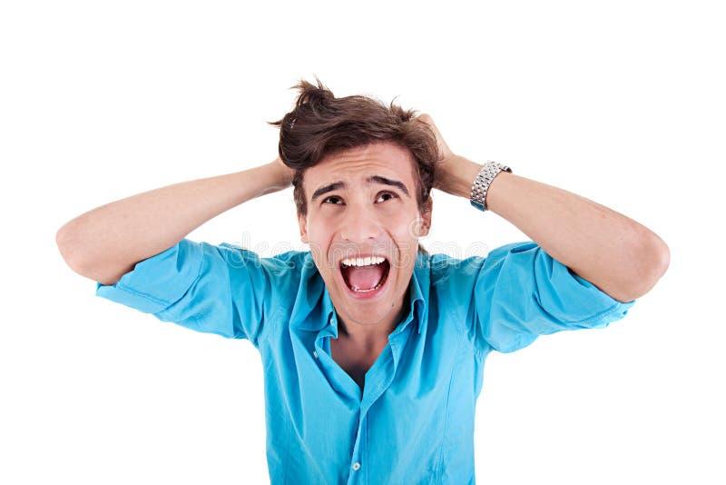 afflicted человек screaming сильно детеныши стоковая фотография rf