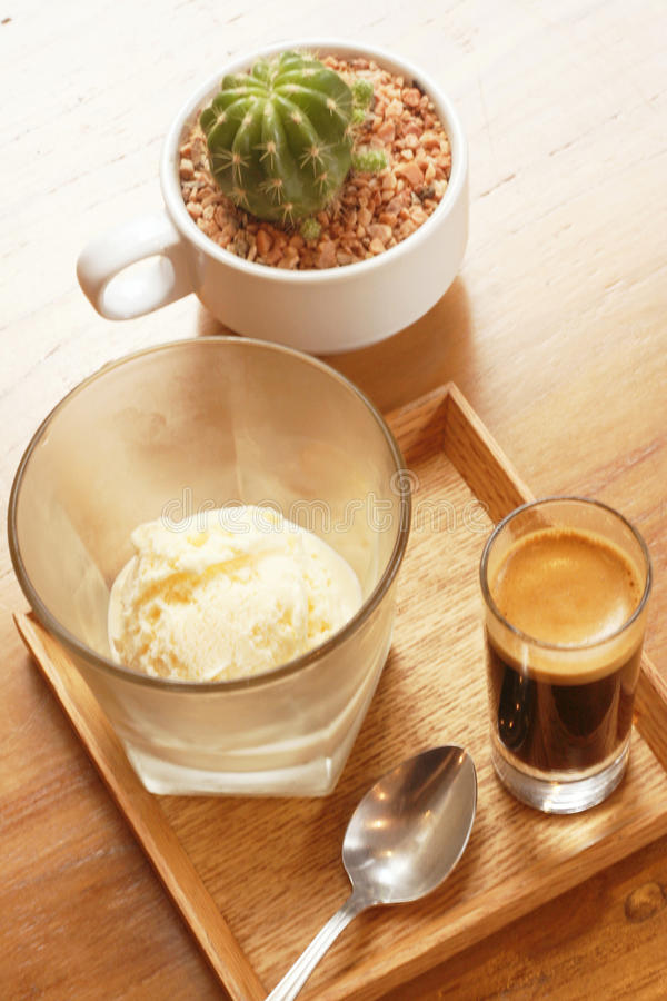 Affogato coffee with ice cream royalty free stock images