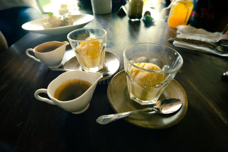 Affogato, Vanilla ice cream with hot coffee, Italian gelato ice stock image
