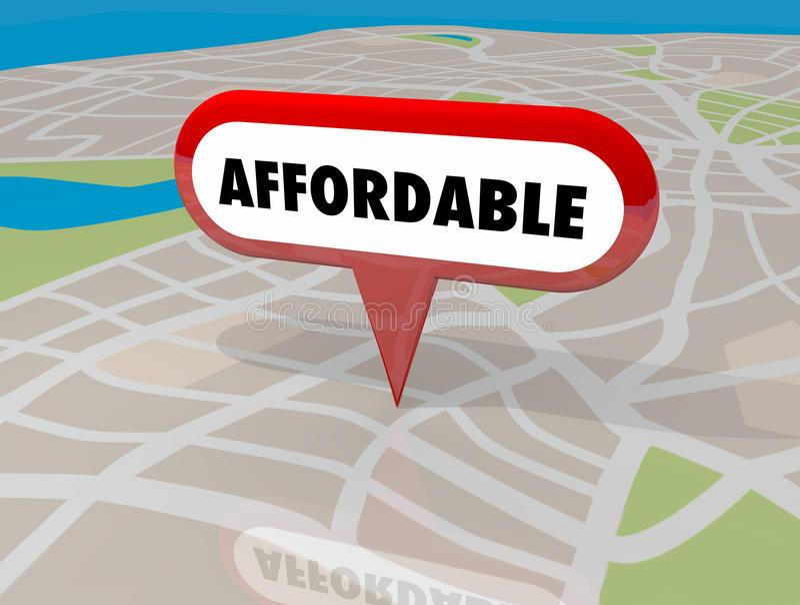 Affordable Housing Real Estate Building Property Map Pin 3d Illustration royalty free illustration