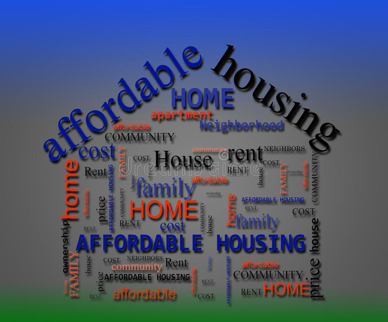 Affordable Housing wordcloud concept. Affordable Housing wordcloud in the shape of a house royalty free stock image