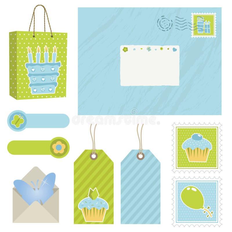 Affrancatura blu e verde royalty illustrazione gratis