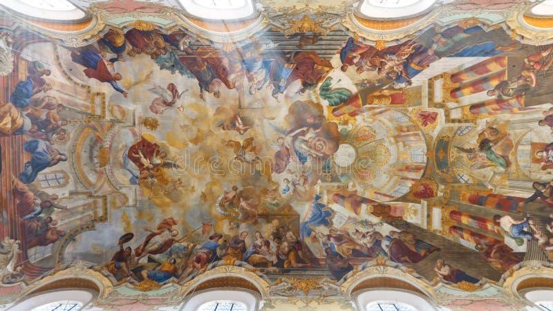 Affreschi alla chiesa barrocco fotografie stock libere da diritti