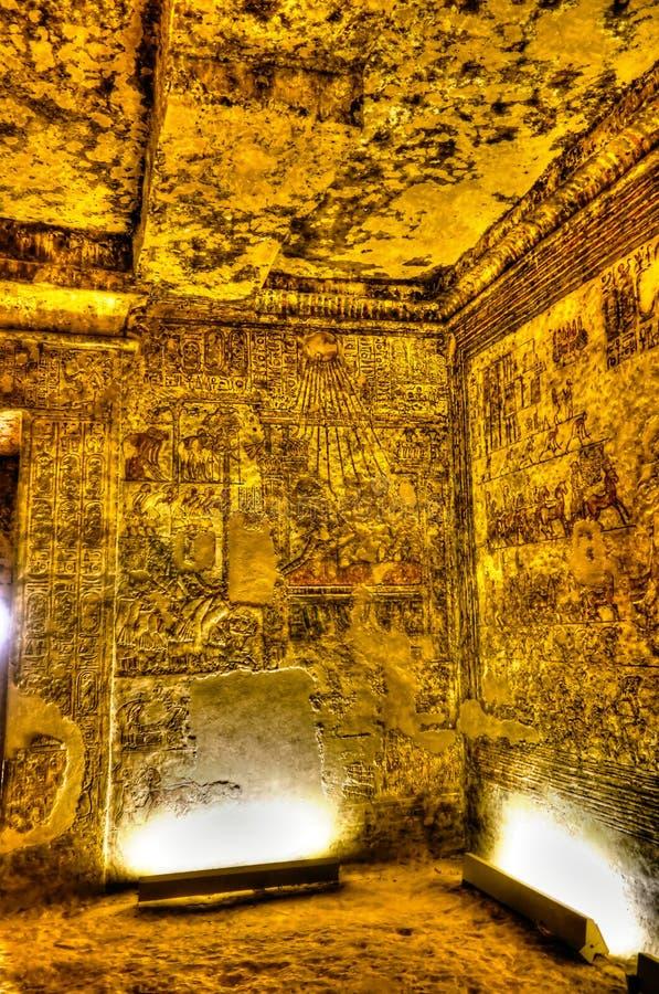 Affreschi alla parete della tomba di MeryRe, arciprete del Athen in Akhetaten al sito archarological di Amarna, Egitto immagini stock