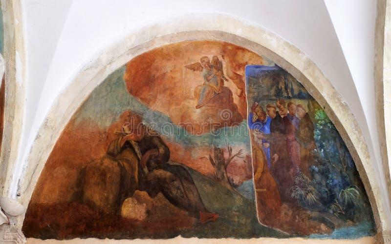 Affreschi con le scene a partire dalla durata dello St Francis di Assisi fotografie stock