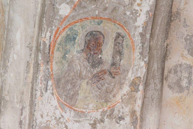 Affreschi georgiani antichi nel Kutaisi, dettaglio dal monastero del tempio illustrazione vettoriale