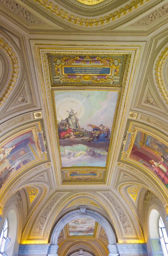 Affreschi nei musei di Vatican fotografia stock libera da diritti