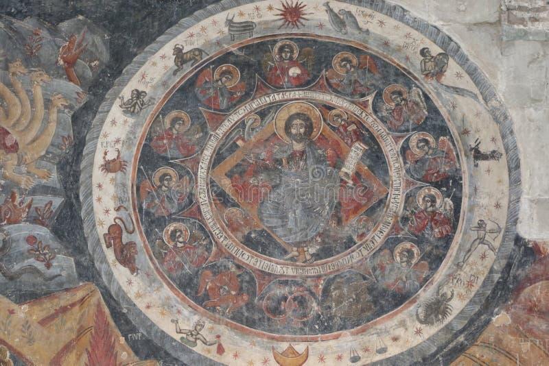 Affreschi nella chiesa di Svetitskhoveli in Georgia immagine stock