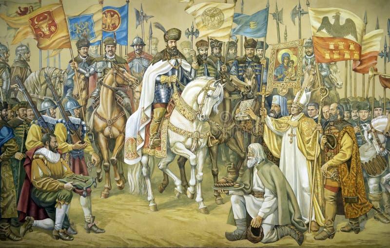 Affresco che rappresenta la grande unione dei tre principati rumeni fotografia stock libera da diritti