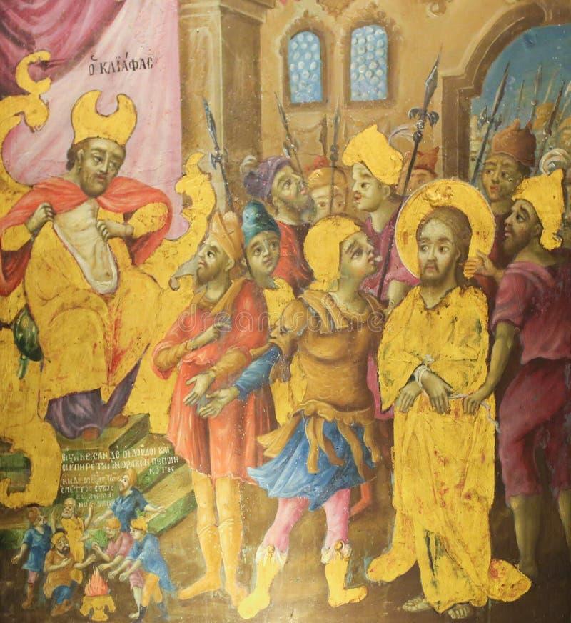 Affresco in chiesa del sepolcro santo, Gerusalemme - prova di Sanhedrin di Ges? fotografia stock libera da diritti