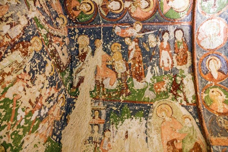 Affresco cristiano in anticipo nella chiesa ortodossa della caverna, Cappado immagini stock