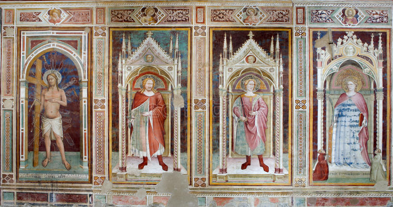Affresco dalla chiesa di Firenze - Al Monte del San Miniato immagini stock