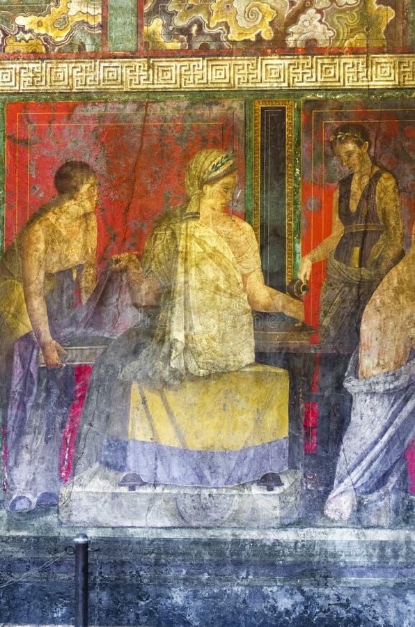Affresco dalla villa del ` s di Pompei dei misteri immagini stock