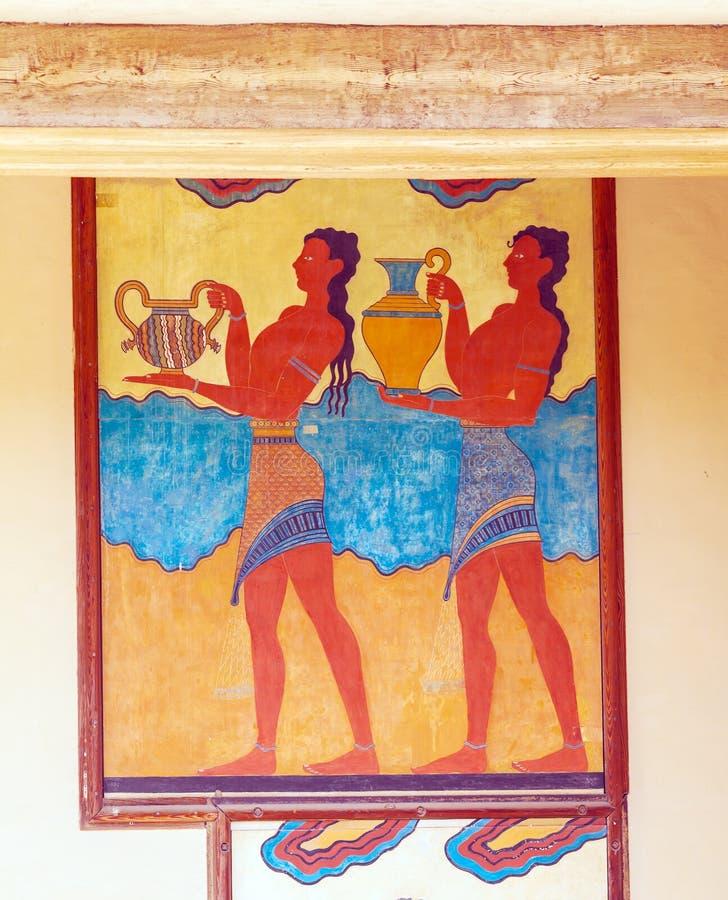 Affresco dell'acquario, simbolo di cultura minoan, palazzo di Cnosso fotografia stock libera da diritti