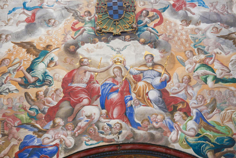 Affresco dell'incoronazione di Maria nel Convento de San Esteban, fotografia stock libera da diritti