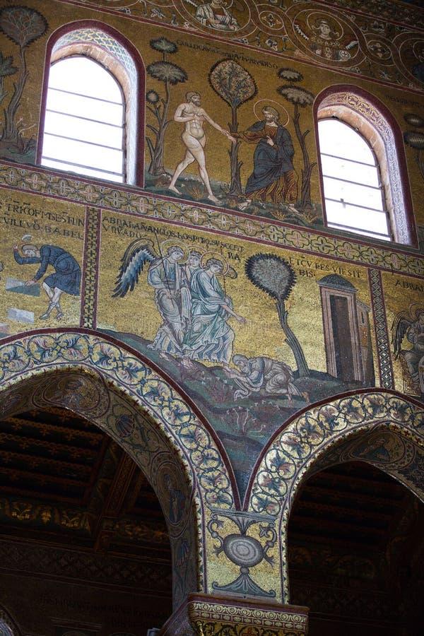 Affresco di Cristo dentro la cattedrale di Monreale vicino a Palermo immagine stock libera da diritti