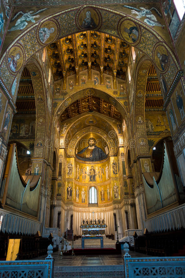 Affresco di Cristo dentro la cattedrale di Monreale vicino a Palermo, Sicilia fotografia stock libera da diritti