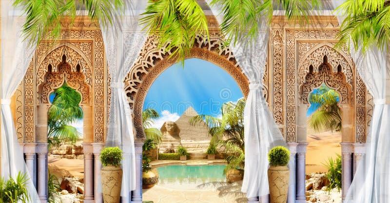 Affresco di Digital Arco e piramide immagine stock