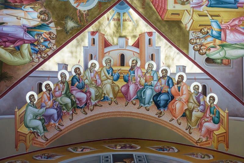 Affresco di Pentecoste su Tabor fotografia stock
