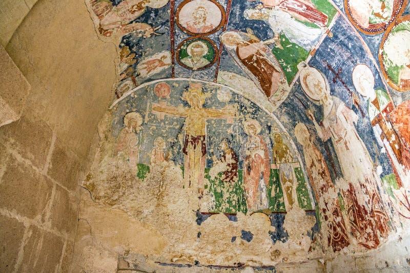 Affresco in EL Nazar, Cappadocia, Turchia della chiesa ortodossa della caverna immagine stock
