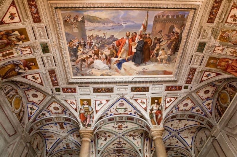 Affresco italiano di rinascita sul soffitto incurvato fotografie stock