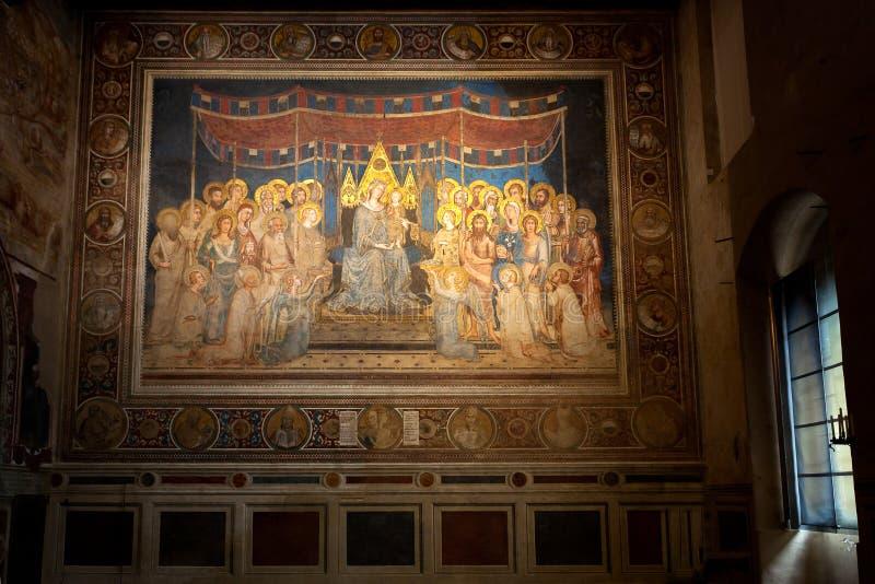 Affresco Maestà Simone Martini, Sala del Mappamondo, Palazzo Pubblico, Siena, Toscana, Italia fotografie stock