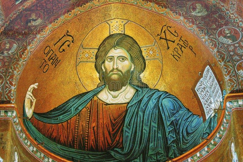 Affresco nella cattedrale famosa Monreale in Sicilia immagine stock libera da diritti