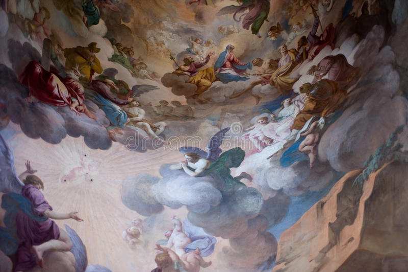 Affresco in Sacro Monte, Unesco fotografia stock