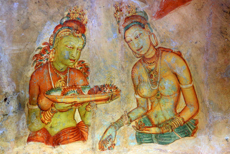 Affresco in Sigiriya fotografia stock