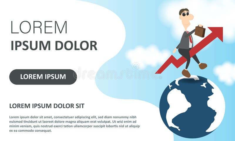 Affretti il concetto Illustrazione di vettore di affari Uomo d'affari volante come una freccia in aumento su globale Pagina d'att illustrazione di stock