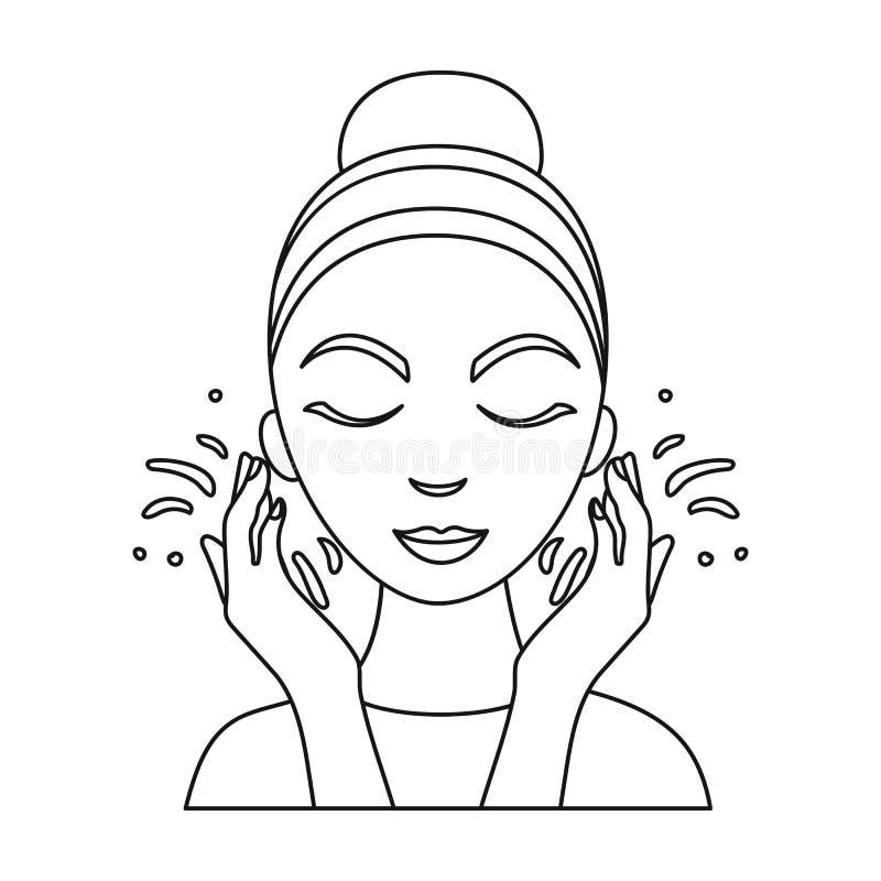 Affronti l'icona di lavaggio nello stile del profilo isolata su fondo bianco Illustrazione di vettore delle azione di simbolo di  illustrazione di stock