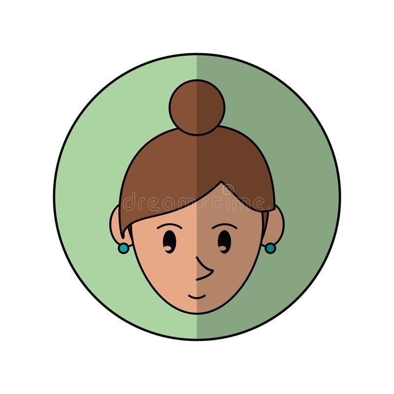 Affronti l'ombra verde del fondo degli anelli di verde della ragazza del fumetto illustrazione vettoriale