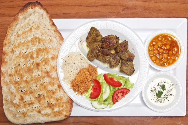 Afgańczyk Piec na grillu Baranek z Naan Chlebem obraz stock