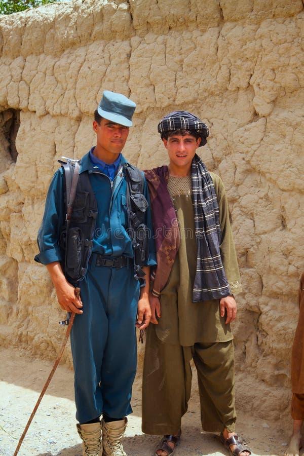 Afgański policjant i Jego przyjaciel zdjęcia stock