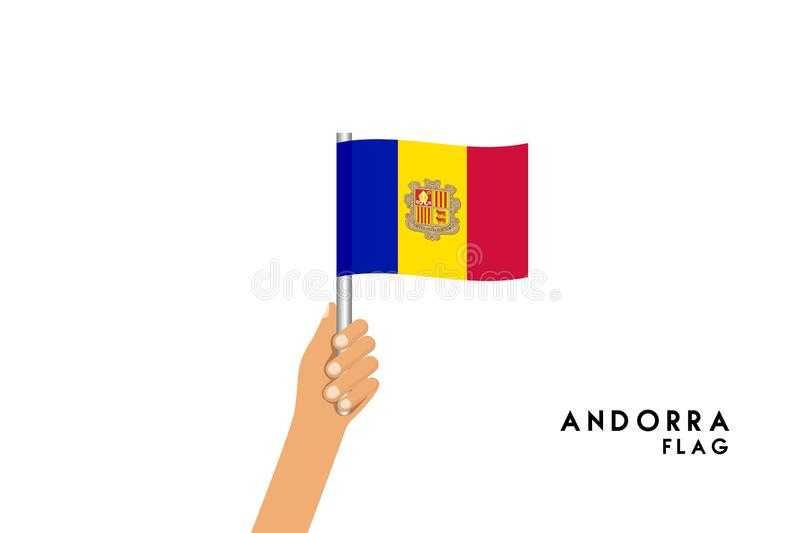 Vector cartoon illustration of human hands hold Andorra flag. Object on white background royalty free illustration