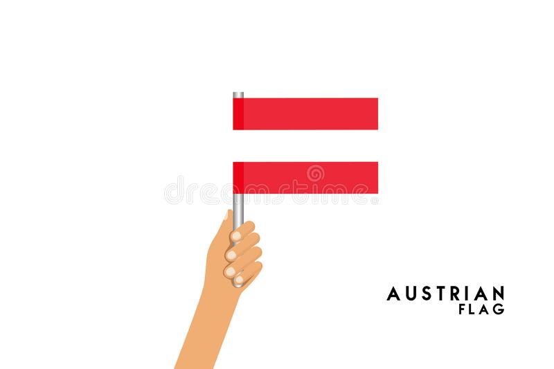 Vector cartoon illustration of human hands hold Austrian flag. Isolated object on white background vector illustration